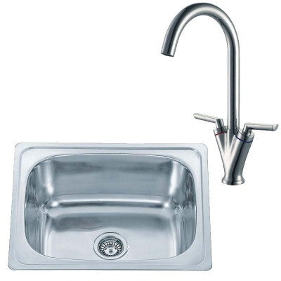 610 x 510mm Inset Polished Stainless Steel Kitchen Sink & Kitchen Mixer Tap (KST119)