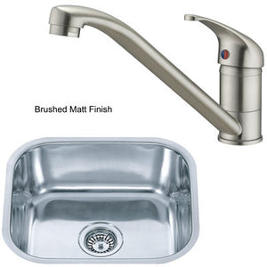 435 x 360mm Brushed Undermount Stainless Steel Kitchen Sink + Kitchen Mixer Tap (KST110 bs)