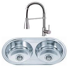 Load image into Gallery viewer, 890 x 475mm Polished Inset Round 2.0 Bowl Stainless Steel Kitchen Sink & Kitchen Mixer Tap (KST060)