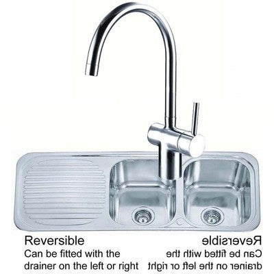 Polished Inset Reversible 2.0 Bowl Stainless Steel Kitchen Sink & Kitchen Mixer Tap (KST046)