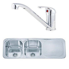 Load image into Gallery viewer, 1180 x 480mm Inset Double Bowl Kitchen Sink & Mixer Tap | Grand Taps