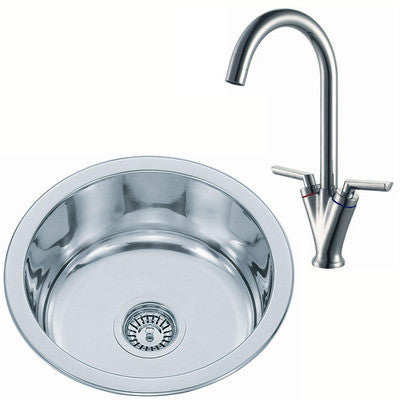 Polished Inset Round Stainless Steel Kitchen Sink & Kitchen Mixer Tap (KST010 mr)