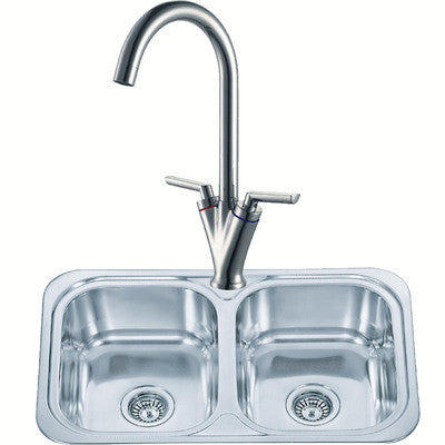 765 x 480mm Polished Inset 2.0 Bowl Stainless Steel Kitchen Sink & Kitchen Mixer Tap (KST103)