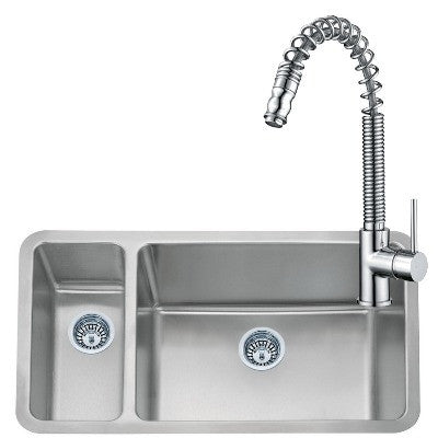 793 x 461mm Brushed Undermount 1.5 Bowl Stainless Steel Kitchen Sink & Kitchen Mixer Tap (KST067)