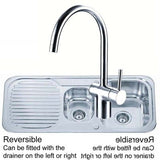 1000 x 480mm Polished Inset Reversible 1.5 Bowl Stainless Steel Kitchen Sink & Kitchen Mixer Tap (KST097)