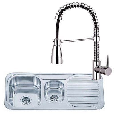 Stainless Steel Kitchen Sink & Bendy Kitchen Mixer Tap | Grand Taps & Tiles