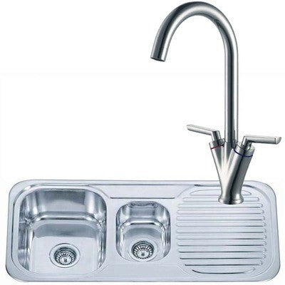 Polished Inset Reversible 1.5 Bowl Stainless Steel Kitchen Sink & Kitchen Mixer Tap (KST018)