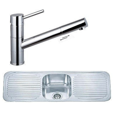 1180 x 480mm Polished Inset One Bowl Double Drainer Stainless Steel Kitchen Sink & Kitchen Mixer Tap (KST129)