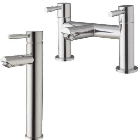 Modern Minimalist Bath Mixer Tap And Tall Basin Mixer Tap (Lola 57)