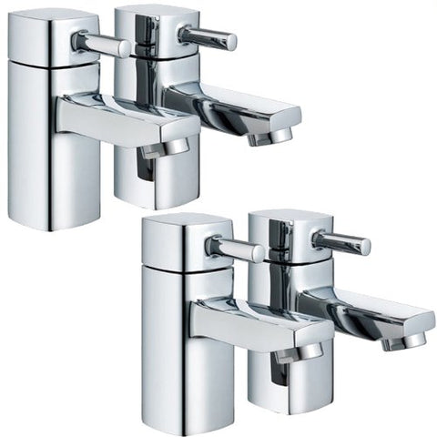 Modern Square Bath & Basin Tap Set (Ice 32)