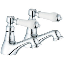 Load image into Gallery viewer, Hot & Cold Traditional Bath Taps (Swan 3)