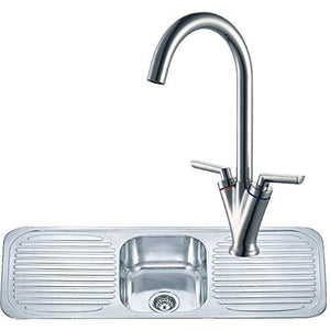 1180 x 480mm Inset Double Drainer Kitchen Sink & Mixer Tap | Grand Taps