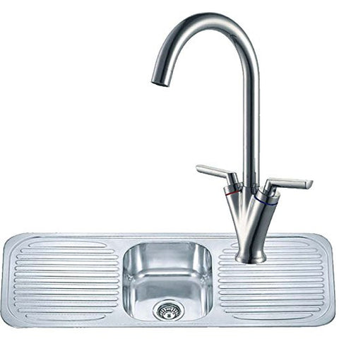 1180 x 480mm Polished Inset One Bowl Double Drainer Stainless Steel Kitchen Sink & Kitchen Mixer Tap (KST128)