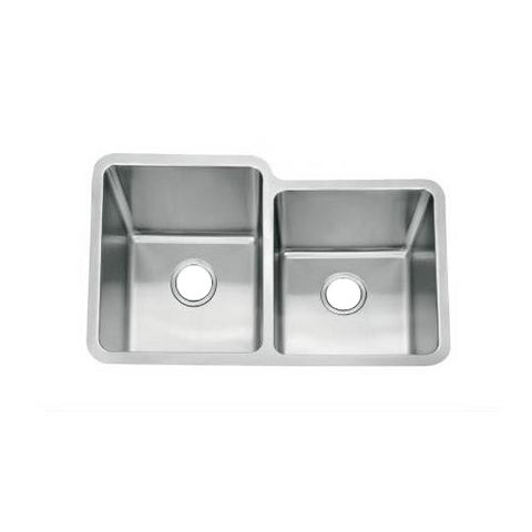 793 x 519mm Undermount Brushed Stainless Steel 1 3/4 Bowls Kitchen Sink Large Bowl On Left With Overflow (D04 L)
