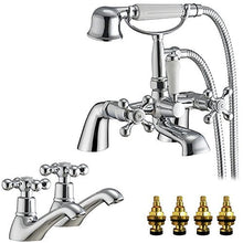 Load image into Gallery viewer, Traditional Victorian Bath & Shower Mixer and Basin Tap Set (Viscount 42)