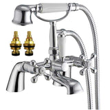 Traditional Victorian Bath & Shower Mixer and Basin Tap Set (Viscount 42)