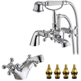 Traditional Victorian Bath & Shower Mixer and Basin Mixer Tap Set (Viscount 41)