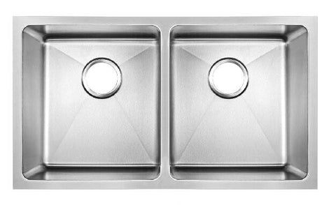 793 x 461mm Undermount Double Bowl Handmade Stainless Steel Kitchen Sink With Easy Clean Corners (DS020)