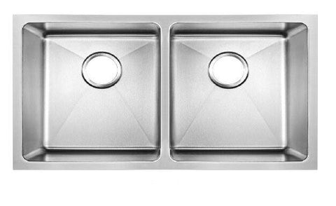 865 x 440mm Undermount 2 Bowl Handmade Satin Stainless Steel Kitchen Sink With Easy Clean Corners (DS031)
