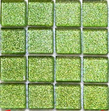 Load image into Gallery viewer, Lime Green Glitter Glass Mosaic Kitchen Bathroom Tiles | Grand Taps