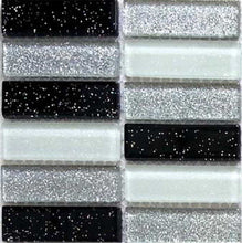 Load image into Gallery viewer, Glitter Black Silver Mosaic Kitchen Splashback Bathroom Tiles | Grand Taps
