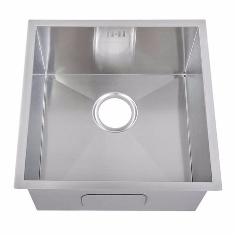 440 x 440mm Undermount Single Bowl Handmade Satin Stainless Steel Sink (DS006-175)
