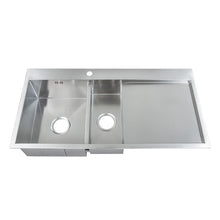 Load image into Gallery viewer, 1000 x 510mm Square Inset 1.5 Bowl Handmade Stainless Steel Kitchen Sink With Drainer (DS001R)