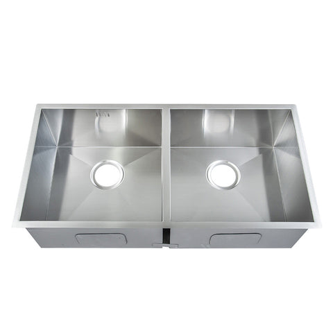 865 x 440mm Undermount Double Bowl Handmade Satin Stainless Steel Sink (DS013)