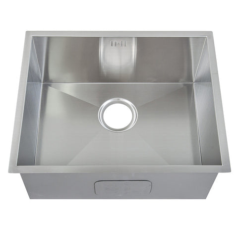 540 x 440 mm Rectangle Undermount Deep Single Bowl Handmade Satin Stainless Steel Kitchen Sink With Waste (DS007)