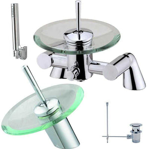 Waterfall Glass Basin & Bath Tap Set + Shower (1R)