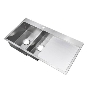 1000 x 510mm Square Inset 1.5 Bowl Handmade Stainless Steel Kitchen Sink With Drainer (DS001R)