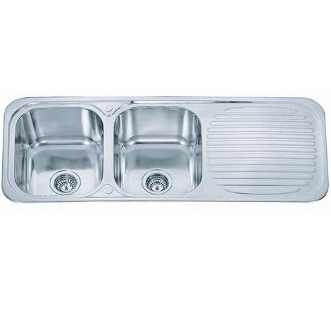 Polished Inset Reversible 2.0 Bowl Stainless Steel Kitchen Sink & Kitchen Mixer Tap (KST048)