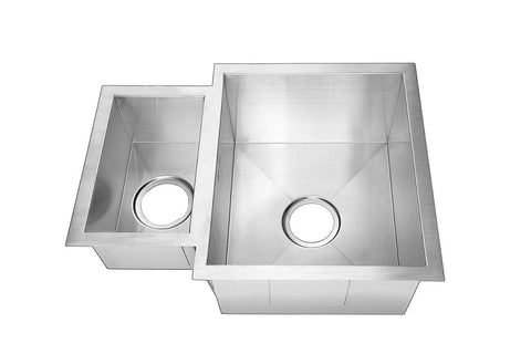 585 x 440mm Reversible Square Undermount 1.5 Bowl Handmade Stainless Steel Kitchen Sink (DS018)