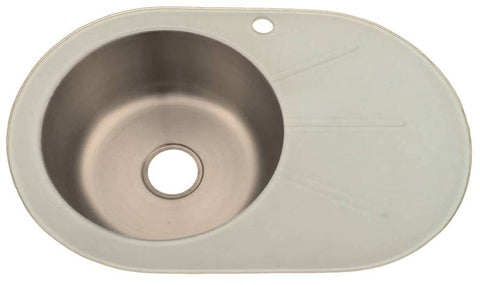700 x 485mm Inset White Glass & Polished Stainless Steel Sink (GTS700 W)