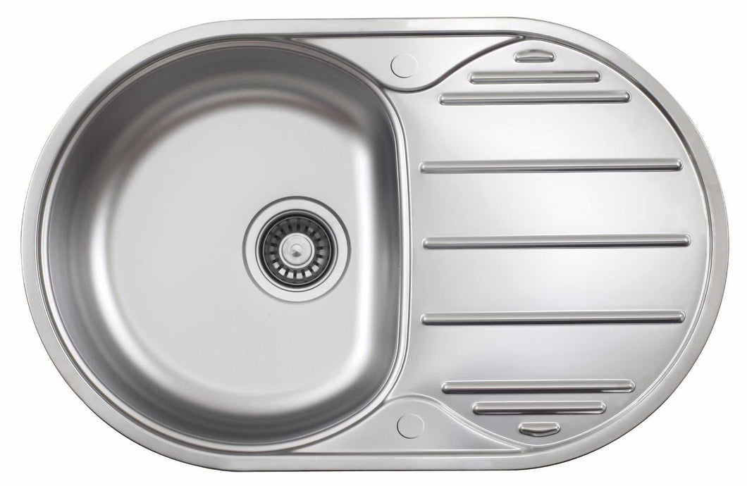 780 x 500mm Oval Stainless Steel Kitchen Utility Room Sink | Grand Taps