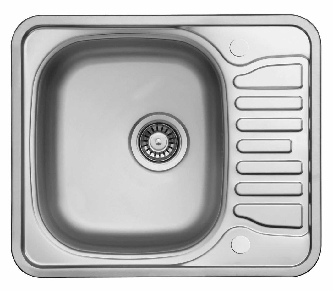 580 x 488mm Polished Reversible Stainless Steel Kitchen Sink | Grand Taps