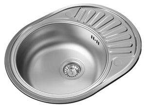 577 x 447mm Polished Reversible Round Stainless Steel Sink (LA001)