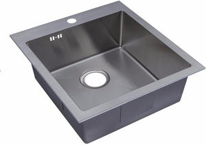560 x 500mm Inset Single Bowl Handmade Stainless Steel Kitchen Sink with Pre-punched Tap Hole and Easy Clean Corners (DS026-1)