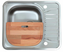 Load image into Gallery viewer, 580 x 488mm Polished Reversible Stainless Steel Sink With Chopping Board (LA006)
