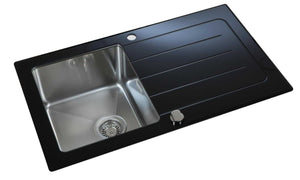 860 x 500mm Reversible Black Glass & Stainless Steel Sink With Drainer (LA012)