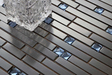 Load image into Gallery viewer, Black Stainless Steel & Blue Diamond Glass Brick Shape Mosaic Tiles (MT0136)