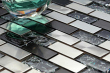Load image into Gallery viewer, Sample of Silver & Black Stainless Steel & Black Crackle Glass Mosaic Tiles Sheet (MT0137)