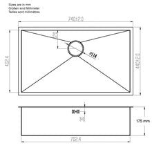 Load image into Gallery viewer, 740 x 440mm Undermount Wide Single Bowl Handmade Stainless Steel Kitchen Sink (DS008-175)
