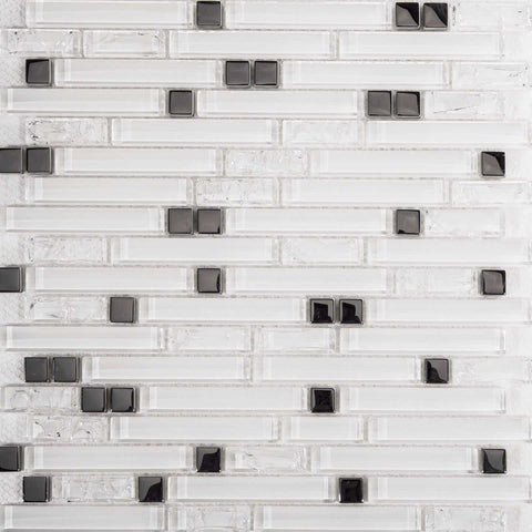 Superwhite Plain & Crackle and Silver Glass Brick Shape Mosaic Tiles (MT0139)
