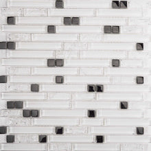 Load image into Gallery viewer, Sample of Superwhite Plain & Crackle and Silver Glass Brick Shape Mosaic Tile (MT0139)