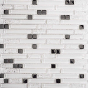 Sample of Superwhite Plain & Crackle and Silver Glass Brick Shape Mosaic Tile (MT0139)