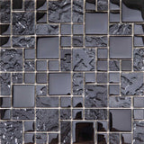 Sample of Textured and Smooth Black Glass Mosaic Tile Sheet (MT0144)