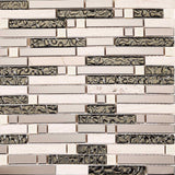 Sample of Polished Steel, Natural Stone and Silver Glass Brick Shape Mosaic Tile Sheet (MT0146)