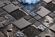 Load image into Gallery viewer, Black and Silver Patterned Glass and Steel Mosaic Tile (MT0149)