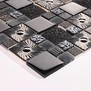 Black and Silver Patterned Glass and Steel Mosaic Tile (MT0149)